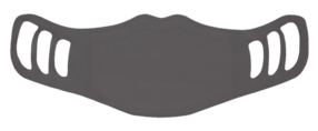A washable and reusable polyester gray color printed cloth face mask for kids, with three ear holes by each side
